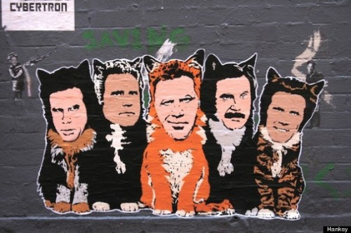 ferrell cats by banksy hanksy.  this is my new desktop background.