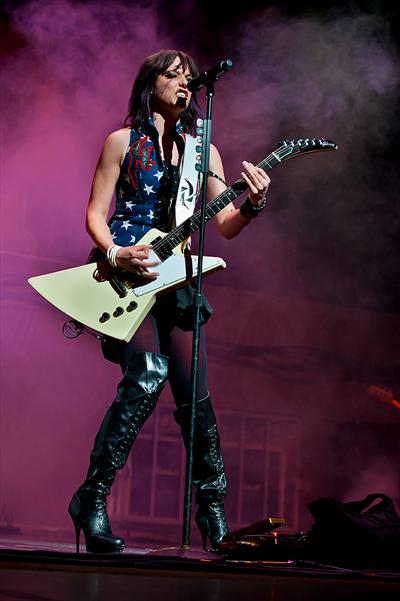 Lzzy Hale of Halestorm in Custom FSLA Woman's Flag Vest.