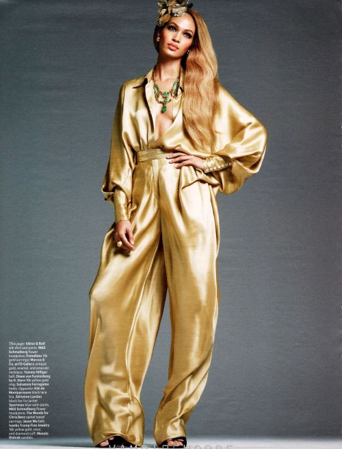 What would Arianne wear?A modern, silky gold jumpsuit. (Joan Smalls photographed by Steven Meisel for W Magazine, July 2012)