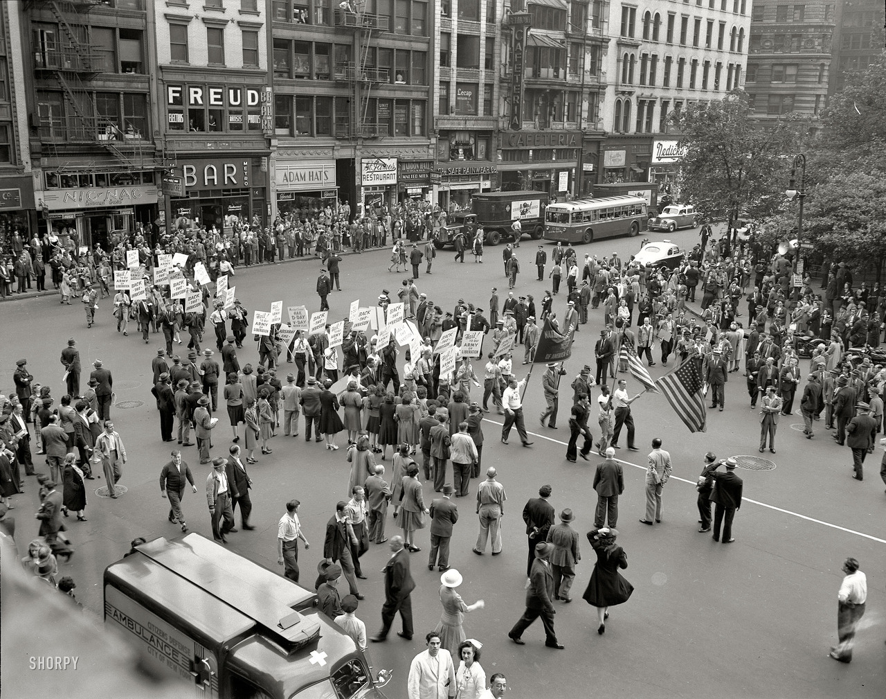 "lostsplendor:   ""New York. Part of the parade on D-Day, Madison Square."" June 6, 1944. (via)"