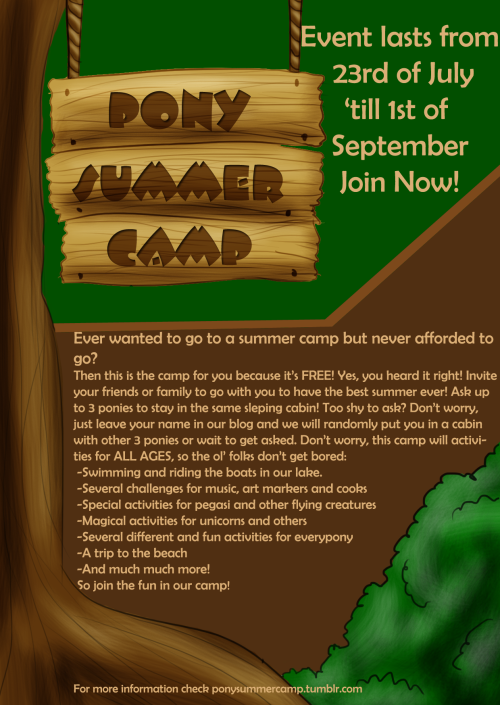 ponysummercamp:  Spread this around by reblogging! Click the image to check the blog! Also, keep in mind, when inviting somepony to be on the same sleeping cabin as you, they have to be the same gender as you, since the cabins are divided by gender.