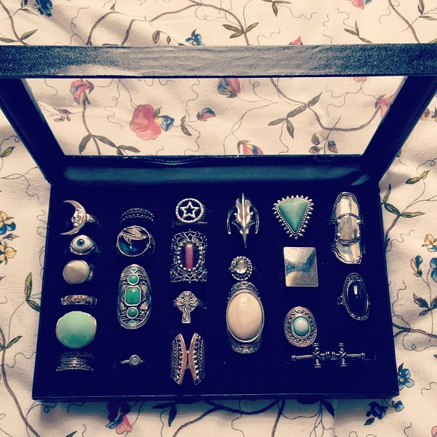 I have started buying boxes to store my rings so I don't lose them! Silver ones
