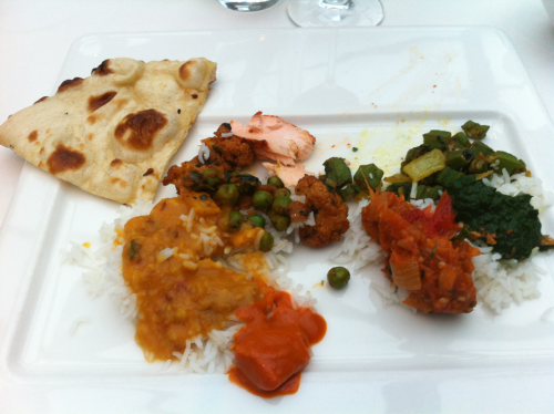 Everything on one plate!  Yummmm.  Halibut curry, dal masala, okra, salmon, etc.  it was AMAZING!