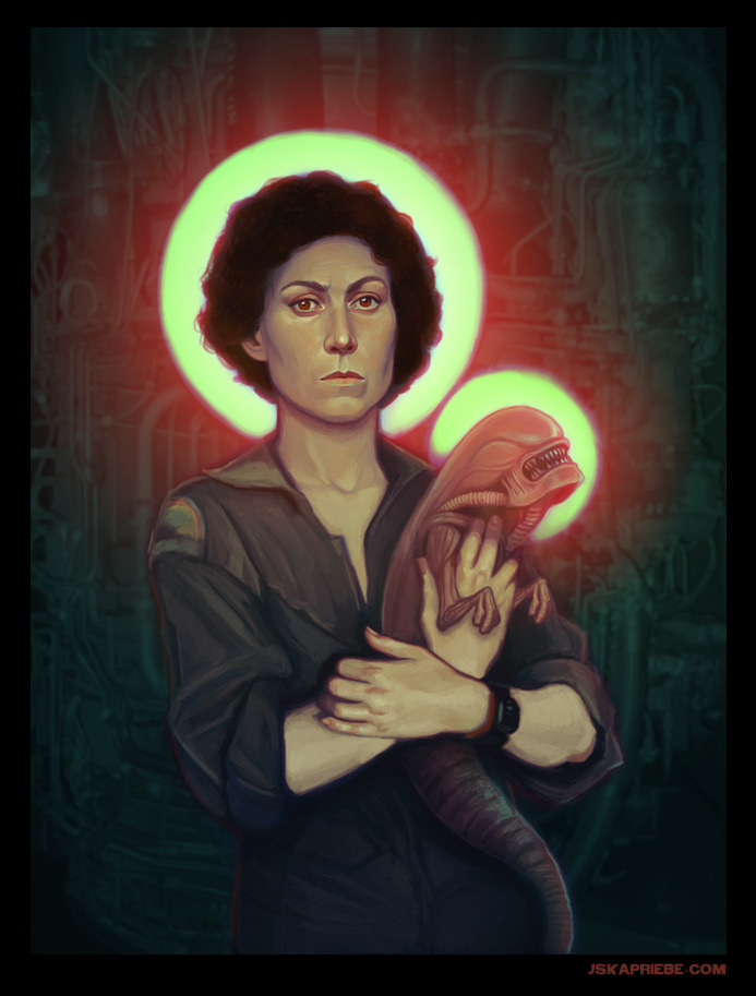 "pewchumpew:  p-o-r-t-u:  fer1972:  ""Ellen Ripley"" (Madonna and Child) by jskaphobe  A piece in my upcoming solo show ""Stellar: The Women of Science Fiction"" at 303 North Studio in Las Vegas, July 5th- July 31st. She is on tumblr! Thank you Jska!  ¡AMEN!  Awesome."