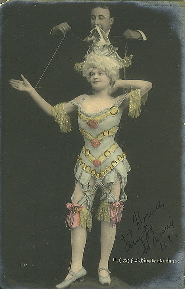 maudelynn:  Marionette Girl. Turn of the Century Postcard.