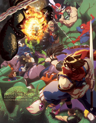 "artbychamba:  MARVEL vs CAPCOM by *theCHAMBA MARVEL VS. CAPCOM®: OFFICIAL COMPLETE WORKS   Two Titanic Universes Collide In This Spectacular New Artbook!   Limited Edition Hardcover Debuting July 11th at San Diego Comic-Con!   TORONTO, CANADA: An amazing collection nearly 20 years in the making, UDON Entertainment proudly announces the impending release of Marvel vs. Capcom: Official Complete Works! This is a brand-new art book collecting all of the official artwork, sketches, and bonus material from all of Marvel and Capcom's video game collaborations—from 1993's The Punisher arcade game right up to 2012's smash-hit Ultimate Marvel vs. Capcom 3 for the PLAYSTATION 3, PSP, and X-BOX 360 platforms! Compiled by UDON with the help of Capcom and Marvel, this is the first time this material has ever been collected in one place — on either side of the Pacific!Weighing in at nearly 200 pages, Marvel vs. Capcom: Official Complete Works has been a labour of love for the UDON production team. Working closely with Capcom creative head Shoei Okano, UDON has dug deep through CAPCOM's archives to find extremely rare high-resolution art and materials to put together for this project — no easy task considering no Marvel vs. Capcomart book was ever printed in Japan!Includes stunning artworks by Akiman, Bengus, Shinkiro, Joe Madureira, Adi Granov, and more! Complementing the classic pieces are an all-new gallery of stunning Marvel vs. Capcom illustrations by comics superstars including Joe Ng, Long Vo, Chamba, Adam Warren, and Takeshi Miyazawa!""This book means a lot to UDON,"" says Publisher and Editor-in-Chief Erik Ko. ""It was back 10 years ago that Joe Quesada at Marvel Comics gave UDON our first freelance job, and kick-started our creative services department. Then just a few years later, we became our own publisher, working closely with Capcom to publish original Street Fighter® comics! Being able to publish a book containing amazing work from both Marvel and Capcom is like a big 'thank you' from us to the folks who helped make us what we are today. Thank you Marvel, thank you Capcom!""Marvel vs. Capcom: Official Complete Works will make its international debut at Comic-Con International: San Diego on Wednesday, July 11th, in an exclusive hardcover edition that will not be sold in stores. The hardcover will feature an exclusive wrap-around cover by UDON and Marvel vs. Capcom artist Alvin Lee and digitally painted by UDON`s Genzoman, and only 200 will be available over the course of the show. A standard-format soft cover release will follow in late November 2012, distributed by Diamond to comics and bookstores everywhere.Key Features:- This is an original art book compiled by UDON, with no Japanese counterpart!- Includes all of the promotional artwork, a complete art archive of all Marvel vs. Capcom character drawings, and rare, never-before-seen artwork, sketches, and bonus material!- Contains artwork from the Capcom games The Punisher, X-Men: Children of the Atom, Marvel Super Heroes, X-Men VS Street Fighter™, Marvel Super Heroes VS Street Fighter™,Marvel VS Capcom, Marvel VS Capcom 2, Marvel VS Capcom 3, and Ultimate Marvel VS Capcom 3!- Includes 17 new illustrations exclusive to this book!This is the book that fighting game fans have dreamed of, since The Punisher and Nick Fury first picked up their guns, since Captain America raised his shield against Ryu`s hadoken! No fan of Marvel Comics, no fan of Capcom's universe, no fan of videogames will want to be without Marvel vs. Capcom: Official Complete Works!—Marvel vs. Capcom: Official Complete WorksHardcover EditionFormat: HardcoverPage Count: 192, ColourSize: 8.25? wide X 11.75? long (9"" x 12"" with Hardcover)Price (U.S.): $100.00Debuts July 11th, 2012. San Diego Comic Con Exclusive.Softcover EditionISBN: 1-926778-49-9ISBN 13: 978-1-926778-49-5Format: SoftcoverPage Count: 192, ColourSize: 8.25? wide X 11.75? longPrice (U.S.): $44.99In-stores November 2012.—ABOUT MARVELMarvel Entertainment, LLC, a wholly-owned subsidiary of The Walt Disney Company, is one of the world's most prominent character-based entertainment companies, built on a proven library of over 8,000 characters featured in a variety of media over seventy years. Marvel utilizes its character franchises in entertainment, licensing and publishing. For more information visit www.marvel.com.ABOUT CAPCOMCapcom is a leading worldwide developer, publisher and distributor of interactive entertainment for game consoles, PCs, handheld and wireless devices. Founded in 1983, the company has created hundreds of games, including best-selling franchises Resident Evil®, Street Fighter®, Mega Man® and Devil May Cry®. Capcom maintains operations in the U.S., U.K., France, Germany, Tokyo, Hong Kong and Korea, with corporate headquarters located in Osaka, Japan. More information about Capcom and its products can be found atwww.capcom.com or www.capcom-unity.com.ABOUT UDONUDON Entertainment is a publisher of original comic books, graphic novels, and art books. UDON's best-known projects are those based on popular video game franchises such as Street Fighter®, Okami®, Mega Man®, Darksiders®, Valkyria Chronicles and more. The publisher's ever-growing library also includes English editions of several Japanese manga titles, the anthology art book series Apple, and the Manga for Kids line for children ages 7-12. For more information visit www.UDONentertainment.com.All characters and properties mentioned in this document are the property of their respective owners.Okami, Capcom, Devil May Cry, Mega Man and Resident Evil are either registered trademarks or trademarks of Capcom Co., Ltd., in the U.S. or other countries. Street Fighter is a registered trademark of Capcom U.S.A., Inc.  All other marks are the property of their respective owners."