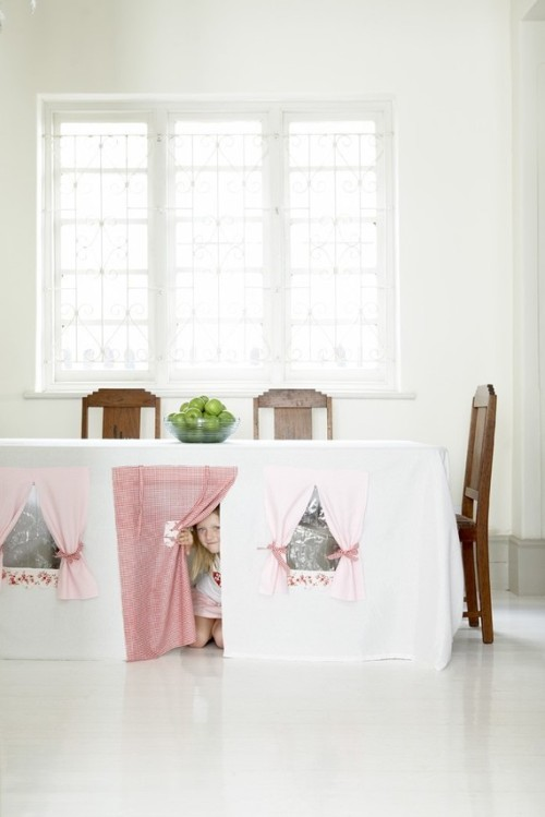How adorable! Fun for you, and the kids Tablecloth Play House from Etsy Follow Livfoxx