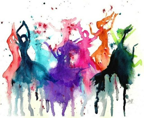 Abstract colourful painting of ballerinas