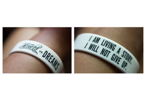 My fears vs dreams bracelet just came in today! Strangely enough, I was wearing my favorite TWLOHA shirt today. Anywho, if you are looking for a great non-profit to support, do check out To Write Love On Her Arms (TWLOHA.com) They're committed to helping those who struggle with depression and more.