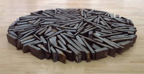 cavetocanvas:  Richard Long, South Bank Circle, 1991 From the Tate Collection:  South Bank Circlewas created specifically for Long's 1991 retrospective at the Hayward Gallery at the South Bank Centre in London. It is a circle, nearly two metres in diameter, composed of 168 pieces of slate lying close together on the floor. The slate comes from the Delabole quarry in Cornwall. The pieces may be assembled in a wide variety of configurations within the defining form of the