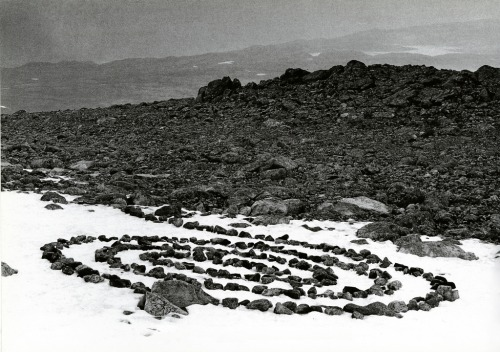 cavetocanvas:  Richard Long, Along a Four Day Walk in Norway: Stones Ink Slowly with the Melting Snow of Summer, 1973