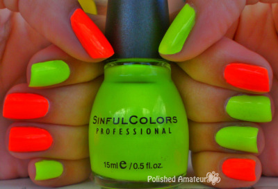 polishedamateur:  Sinful Colors Neon Melon and Summer Peach