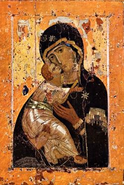 byzantio:   Our Lady of Vladimir First third of the 12th century Wood, tempera 104 x 69 The most Orthodox and revered icon in medieval Russia, «Our Lady of Vladimir» was brought from Constantinople in the early 12th century; it was destined to become the holy of holies of the Russian state. The icon was kept in Vyshgorod, near Kiev. But it became especially revere not in Kiev but in Vladimir, where the icon was sent in 1155 by Prince Andrei Bogoliubsky. The splendid white-stone church the Assumption of the Virgin was especially built to house the icon of «Our Lady of Vladimir». On 26 August (8 September in the New Style calendar) 1395, during the attack by Tamerlane, the icon was solemnly transferred to Moscow and on this day Tamerlane retreated and left the territory of Muscovy. After this the image was returned to Vladimir, but in 1480 it was again taken to the great Moscow church of the Assumption, where it remained till 1918. The Greek name of this iconographic type – Eleus – can be translated literally as «showing mercy». In medieval Russia this type of iconography was called «Umilenie – Tender Affection», which corresponds more closely to the imagery: the Child's cheek is tenderly pressed up against Our Lady's face; he embraces her with his left hand, and Our Lady holds the Child with her right hand, leaning her head towards him. A characteristic feature of this iconography is that the left foot of the Child is bent in such a way that His heel is seen. The icon is drawn on two sides. On the obverse there is a depiction of the «Throne of the Second Coming (Еtimasia)». The painting on the obverse evokes controversy to this day: some date it to the 15th century, others to the 19th century.  from the Tretyakov Gallery.