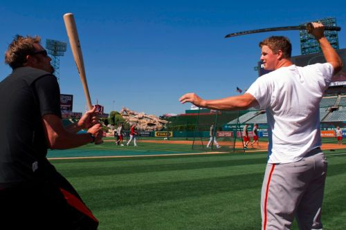 allyslove:  Matt Cain and Jeremy Affeldt playing with the Samurai sword. (Via MLB)  YES.