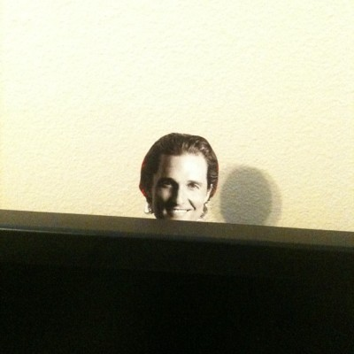 Look who was waiting for me behind my monitor.  (Taken with Instagram)