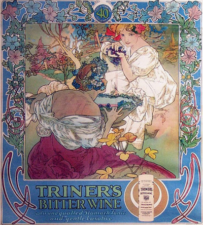 fuckyeahvintageillustration:  A calendar design advertising 'Triner's Bitter Wine Tonic' by Alphonse Mucha. Source