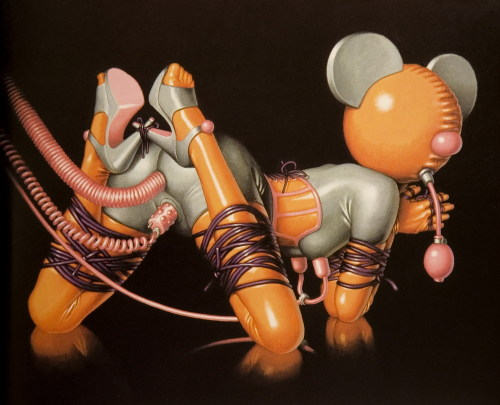 erosart:  Trevor Brown is an English artist who lives and works in Tokyo since the early nineties. In his works he developed thematic issues, paraphilia, pedophilia and BDSM. Fascinated by the works of his wife, maker of dolls, Brown added these creatures to the subjects of his work.