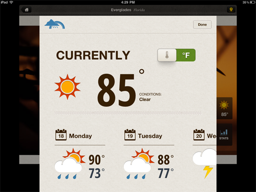 National Geographic, National Park app - weather screen.