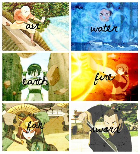 passivestrength:  Alright! Team Avatar is back! Air. Water. Earth. Fire. Fan. And Sword!—Sokka; The Phoenix King