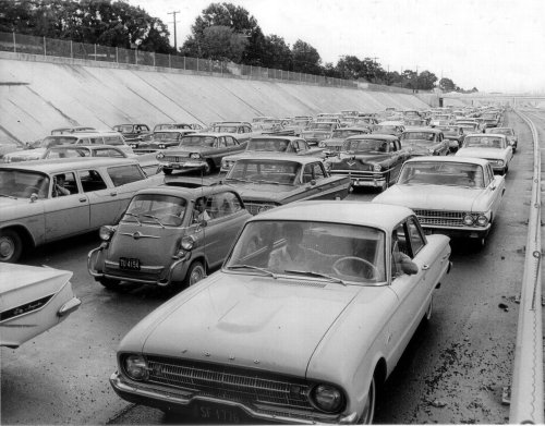 The original non-conformist sitting in a LA traffic jam 1962.