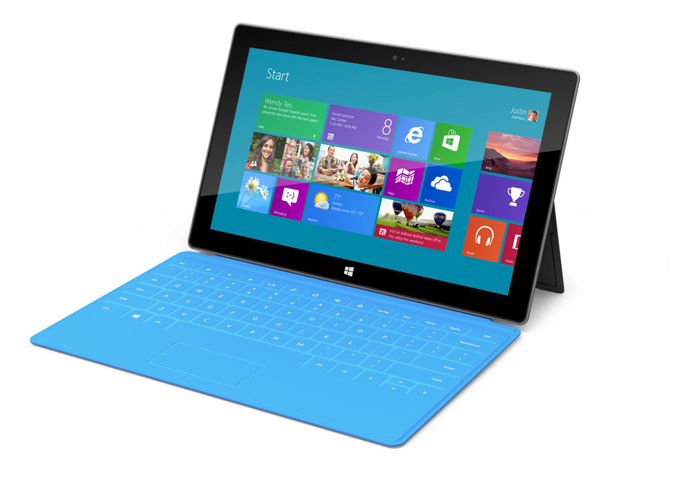 "Microsoft views the Surface as a ""stage for Windows 8."" It's 9.3mm thin, has full size USB 2.0 ports, a massive kickstand and weighs only 1.5 lbs. The casing is made out of magnesium (specifically, a material Microsoft calls VaporMg) and screen is covered in the Gorilla Glass 2 and optically bonded, a feature Microsoft brags was specifically made for the Surface. The Surface is directly aimed at consumers, and with that, the iPad. (via Surface by Microsoft)"