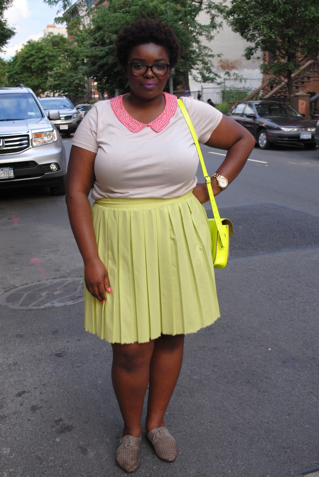 lipstickhipsandheels:  favorite outfit of life alert! I'm such a nerd. top: h&m skirt: anthropologie shoes: urban outfitters (brand idk)