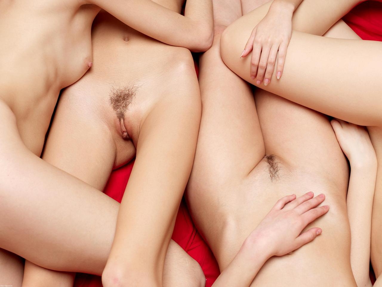 Hot sweaty nude women with pubes