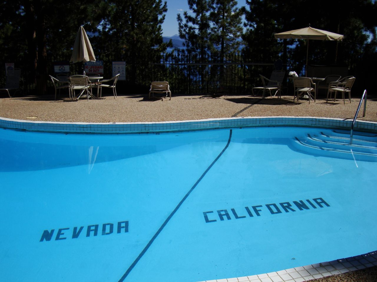 coachtorts:  At the Cal-Neva Lodge in Lake Tahoe, the Nevada/California state line actually runs through the swimming pool. Fun fact:  Cal-Neva was once co-owned by Frank Sinatra.
