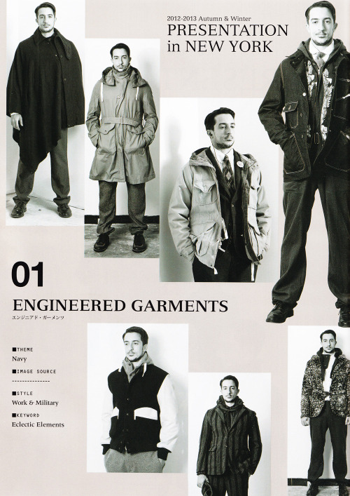 mistercrew:  Another preview for Engineered Garments Fall Winter 2012.