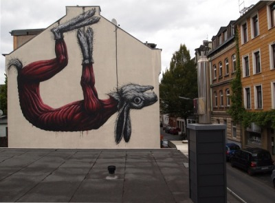 The beauty of Roa's work often makes you forget how really gruesome of a piece this is..a rabbit skinned and hung.