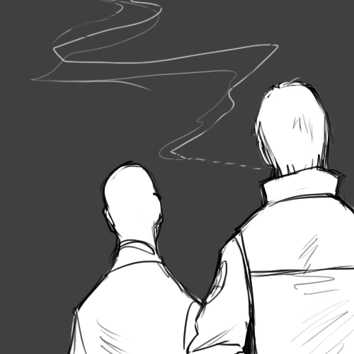 "kynimdraws:  ""…I thought you quit smoking."" ""D'you keep tabs of my habits too? Shut yer trap."""