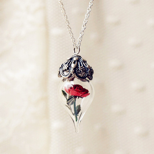 Red Rose Flower Glass Vial Necklace - Love It So Much on We Heart It. http://weheartit.com/entry/30861352