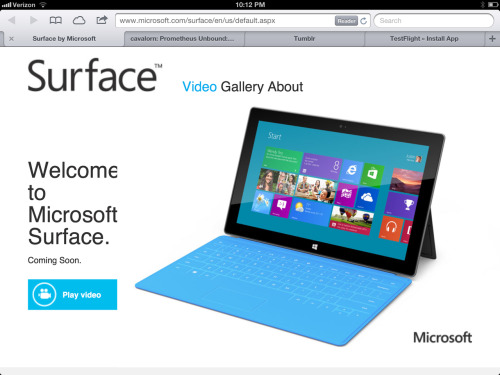 Great job on your tablet website for tablets, Microsoft. Bonus points: the video won't even play.