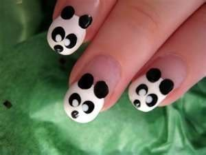 singwithstyle:  Megan Parken 's Decalz: panda bear nail art | Lockerz on We Heart It. http://weheartit.com/entry/30857569