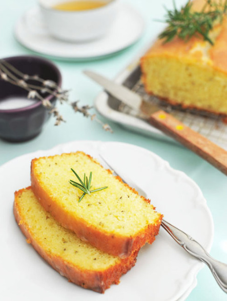 rosemary yogurt cake with lavender glaze click here for recipe
