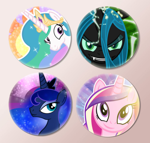 pixelkitties:  Bronycon Buttons by *PixelKitties I've been pushing the Princess' buttons all night, and I haven't gotten sent to the moon once!