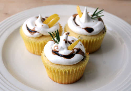 lemon rosemary cupcakes with italian meringue icing and balsamic glaze drizzle click here for recipe