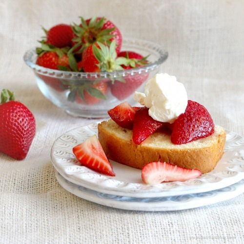 coriander spiced pound cake with strawberries click here for recipe