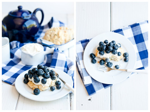 lemon-oregano shortcake with blueberries and lemon-scented quark click here for recipe