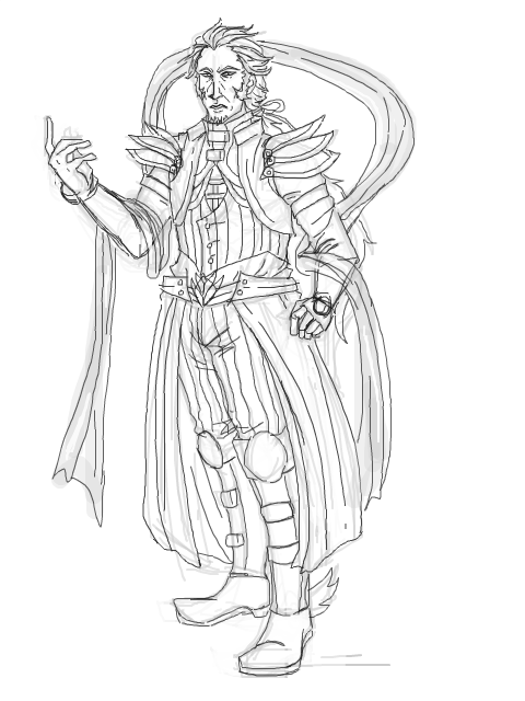 deathfade:  Full body sketches are so hard to do on TE and this might be my first one. Don't feel like colouring until I re-do it. His name is Ramiel.  Meet Ramiel. He's freaking awesome.