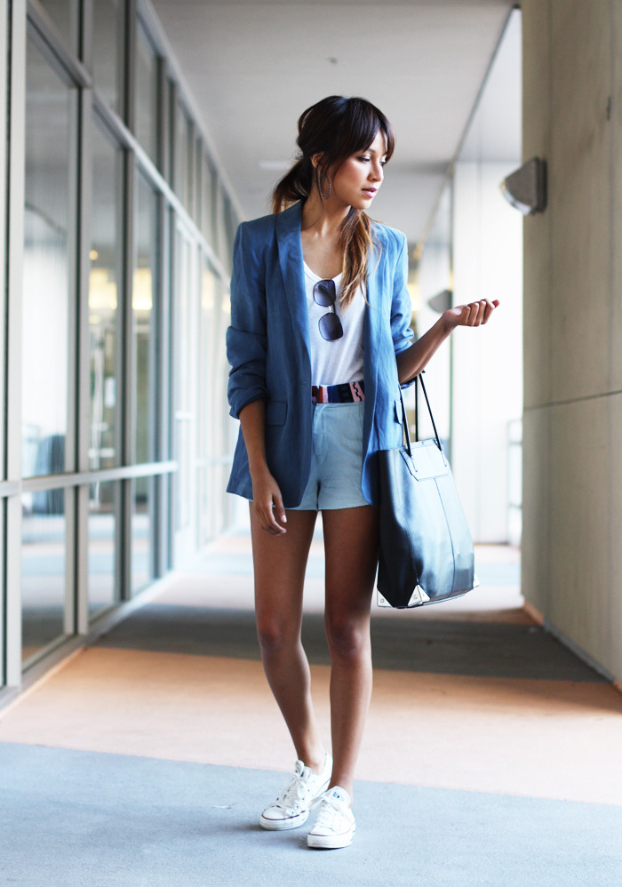 Blazer: MiH Jeans  |  Shorts: Rory Beca  |  Tee: Gap (similar here & here) |  Sneakers: Converse   Bag: Alexander Wang | Sunglasses: Marc by Marc Jacobs (image: sincerelyjules)