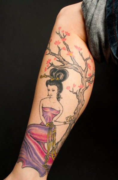 My Geisha and cherry blossom tree I love this art so much my artist ran with my idea and came back with this.This was my second tattoo, it's taken about 10 hours so far; unfortunately she's not finished yet, one of these days I'll finish this piece.