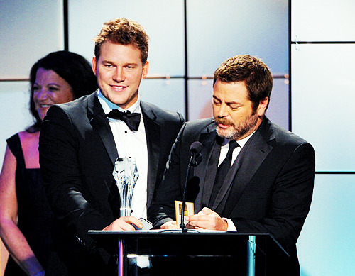 Chris Pratt and Nick Offerman accept the award for Best Comedy Guest Performer on behalf of Paul Rudd onstage during The Broadcast Television Journalists Association Second Annual Critics' Choice Awards
