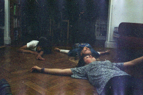 Andromeda, Narcissa, and Bellatrix pretending to be dead, to scare Regulus. Taken by Lucius. Circa 1976.