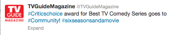 levelfivelaserlotus:  COMMUNITY WON BEST TV COMEDY SERIES!!!! SIXSEASONSANDAMOVIE    WOOOOOOO