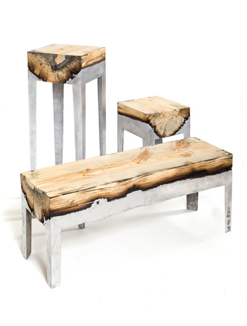 Furniture combining cast aluminium and wood.