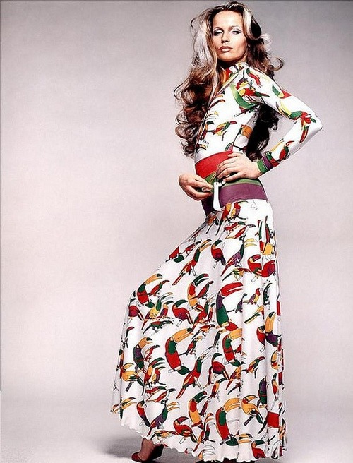 Veruschka in a toucan-print maxi dress and belt by Francesco Scavullo, 1972.