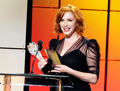 Christina Hendricks accepts the award for Best Drama Supporting Actress onstage during The Broadcast Television Journalists Association Second Annual Critics' Choice Awards  Oh man and did she ever deserve it.  Christina Hendricks OWNED this past season of Mad Men.  Get her a damn Emmy already.