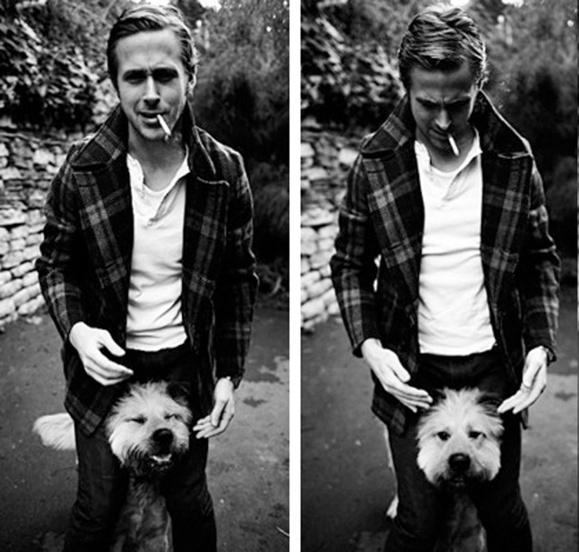 Ryan Gosling and his dog, George.