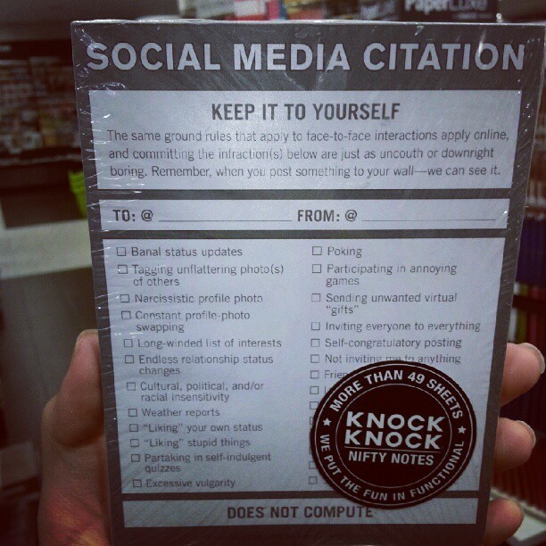 Saw this at @_FullyBooked BHS yesterday! Perfect for annoying Twitter/FB people :p (Taken with Instagram)